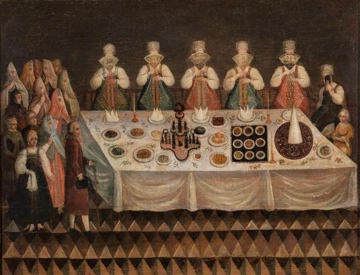 Смотрины в XVIII веке в городе Торопце (Девичник в Торопце). Неизвестный художник. Конец XVIII в.