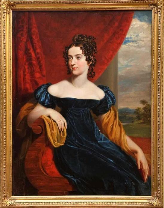 Портрет неизвестной в синем платье. Доу Д. (Dawe George), Конец 1810 - начало 1820-х гг.