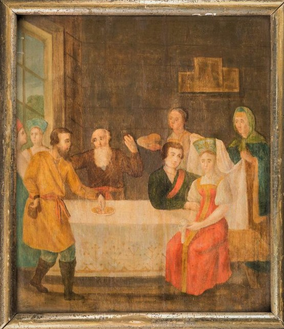 Крестьянская свадьба. Неизвестный художник. Первая четверть XIX века