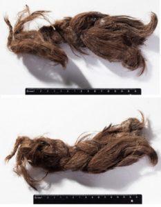 Могильник Оглахты, погребение 1. Коса 1 представляет собой фрагмент прически длиной 14,5 см в виде жгута, заплетенного вокруг кожаного аксессуара/шнура и сложенного вдвое, так что получившаяся «коса» выглядит толстым тугим удлиненным пучком. Возможно, это накладная коса