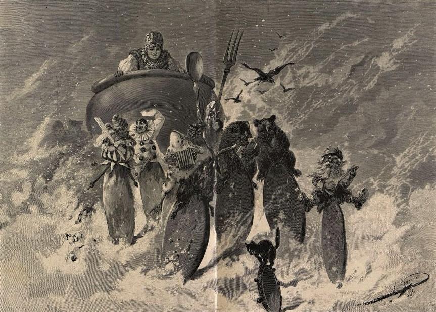 «Шировая масленица». - «Набег блинов». Н. Н. Каразин, Ю. Барановский. «Нива», №6. 1887 г.
