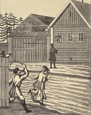 Фрагмент картинки на тему «Тещины блины». Вырезка. вторая половина XIX в.