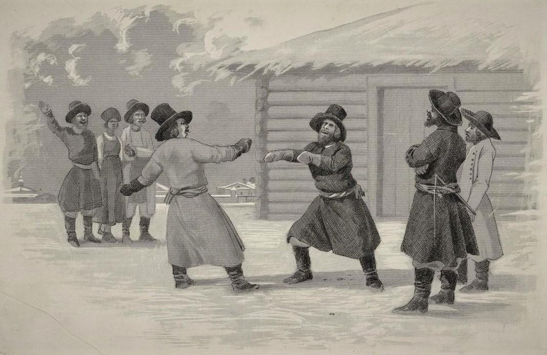 Кулачный бой. Гейслер Кристиан Готлиб Генрих. 1890-е гг. (с гравюры 1805 г.)