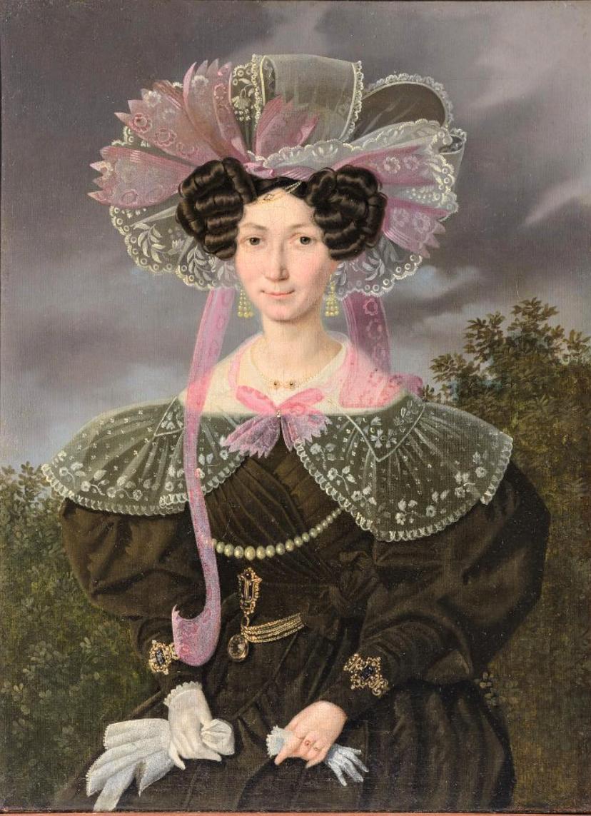 Портрет неизвестной в зеленом платье. Неизвестный художник. 1830-е гг.
