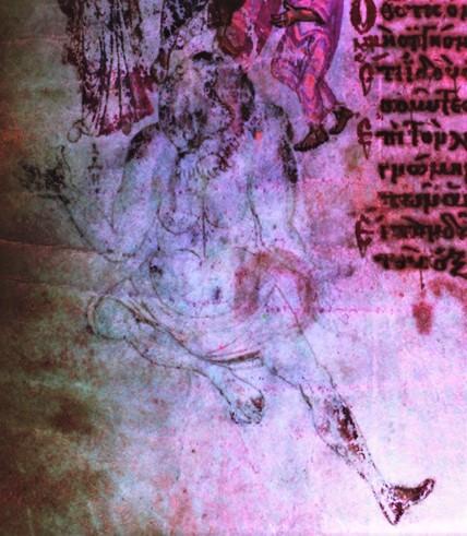 Хлудовская Псалтырь. Константинополь, середина IX в. (ГИМ, ОР Хлуд. 129д). Л. 82 об. Фрагмент миниатюры, снятой в УФ-спектре, с визуализированным изображением контурного чернильного рисунка Силена, олицетворяющего ад.