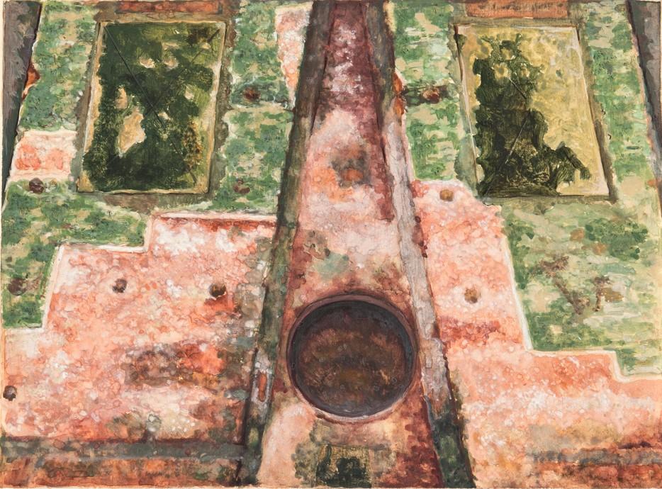 Акварельный рисунок сосуда на шатре Покровской церкви