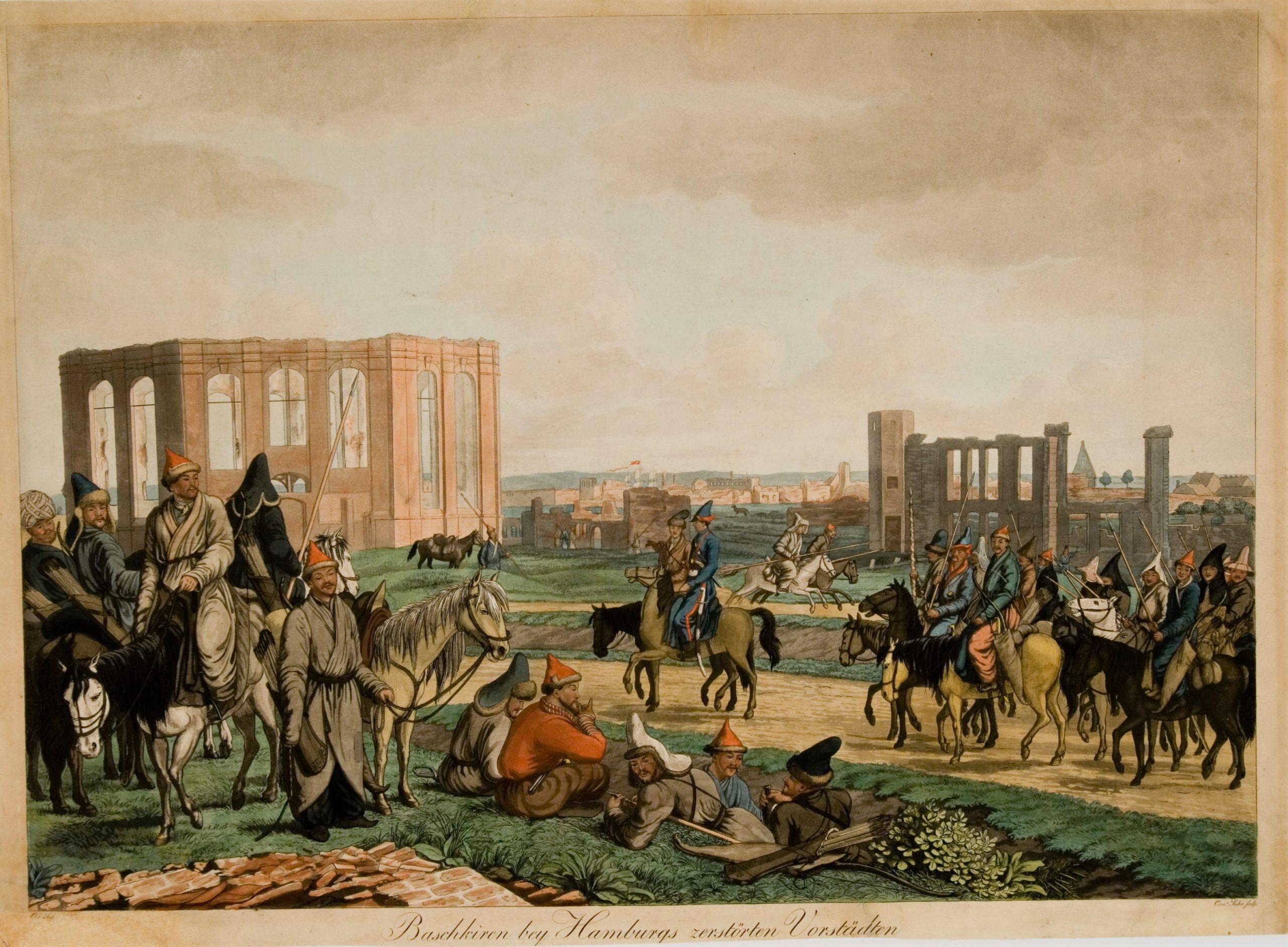 Baschkiren bey Hamburgs zerstörten Vorstädten im Jahre 1814.