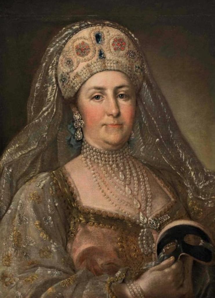 Портрет императрицы Екатерины II в русском костюме с маской в руке. Неизв. худ. Последняя треть XVIIIв.