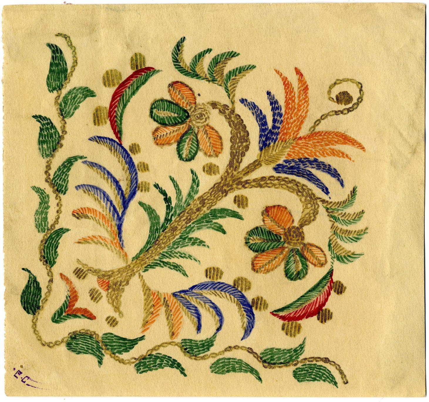 Е.Ю. Спасская. Рисунок вышивки на свадебном платке