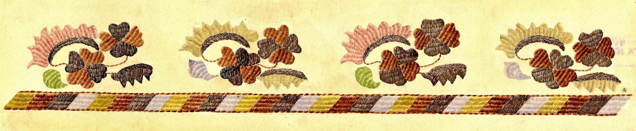 А.А. Сакс (де Ленс). Узор вышивки на полотенце