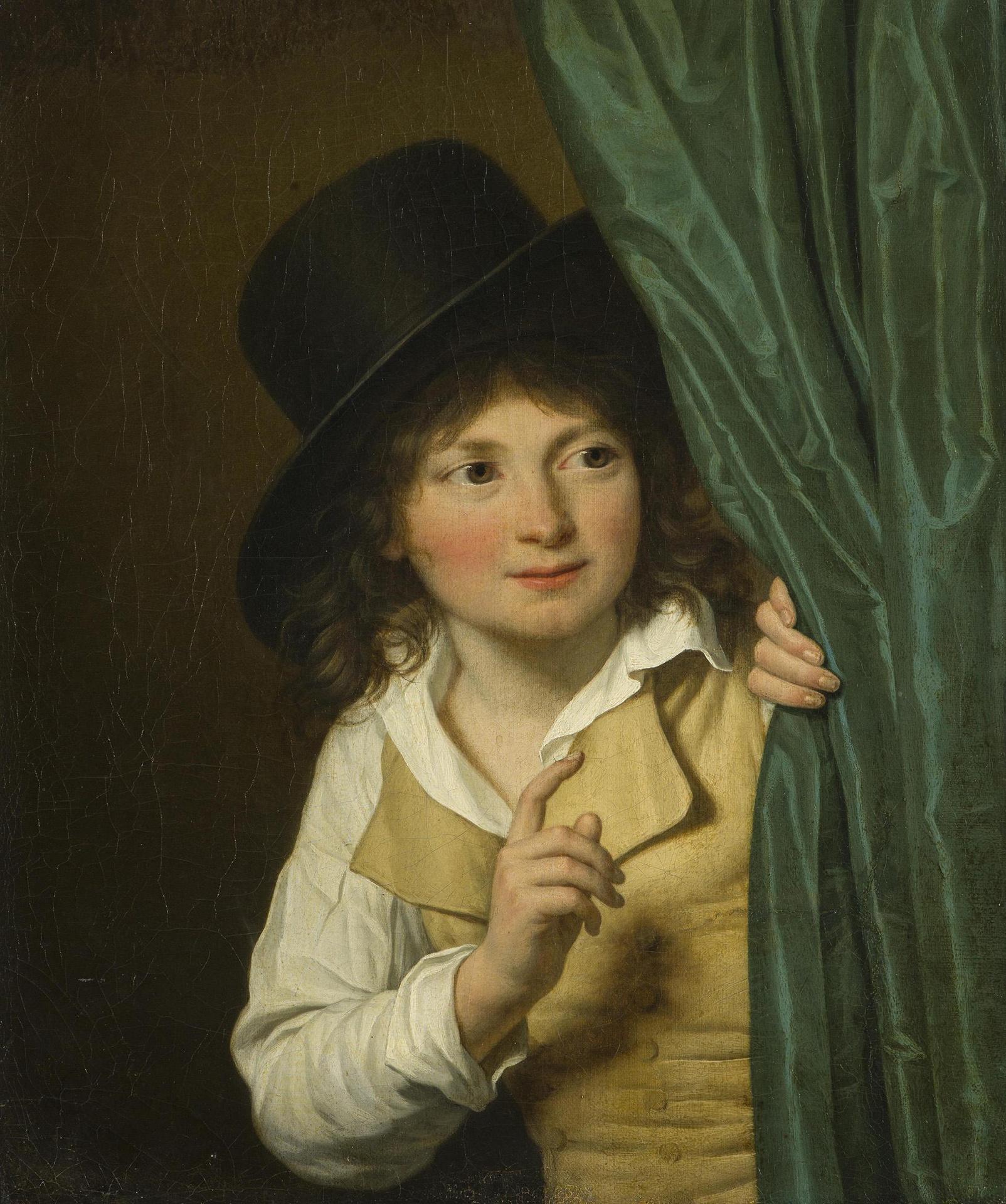 Ж.Л. Ланевиль. Мальчик у занавески. 1807. Государственный Эрмитаж