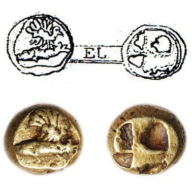 Гекта Кизика из коллекции ГИМ: вверху – изображение на таблице II в книге П.О. Бурачкова «Общий каталог монет…», внизу – современная фотография