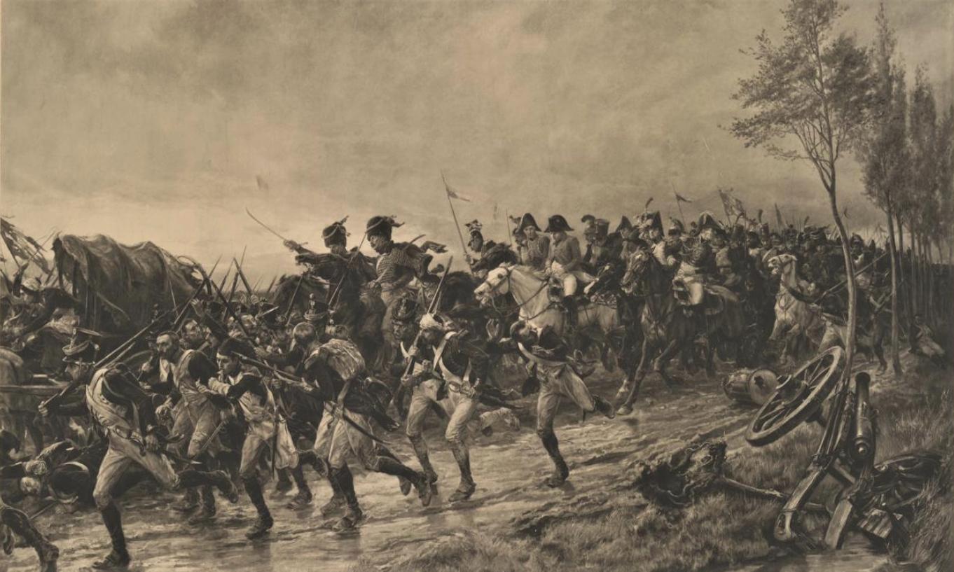 Отступление Наполеона при Ватерлоо. 1890 г. Бумага, фототипия.