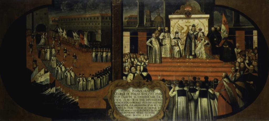 Венчание Марины Мнишек и Лжедмитрия в Москве 8 мая 1606 г. Неизвестный художник. XVII в.