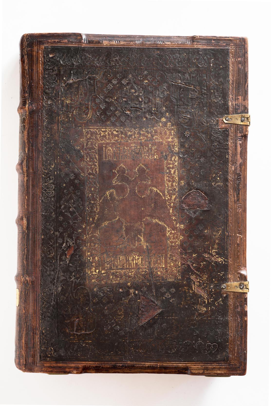 Апостол 1564 г. (ГИМ, Цар. А. 15). Тиснение верхней крышки переплета