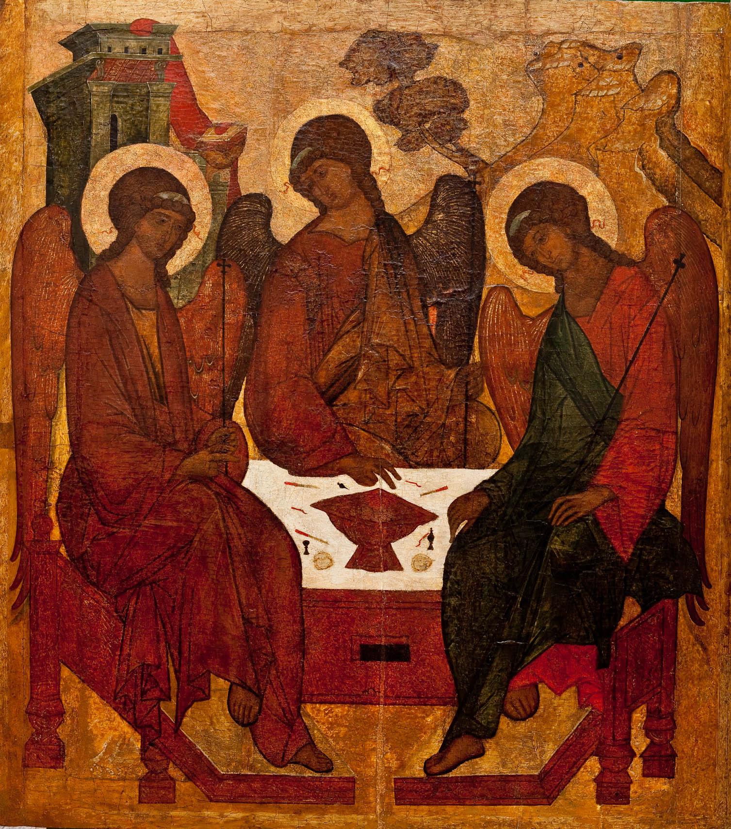 Троица Ветхозаветная. XVI в. Икона из иконостаса церкви Святой Живоначальной Троицы