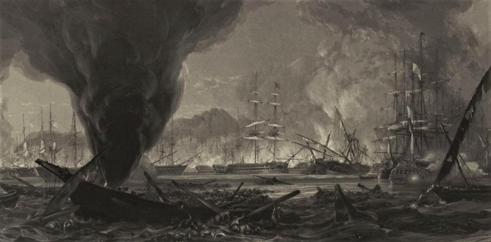 «Action in the bay of Navarino». Морское сражение при Наварино 1827 г. Даниэль. 1828