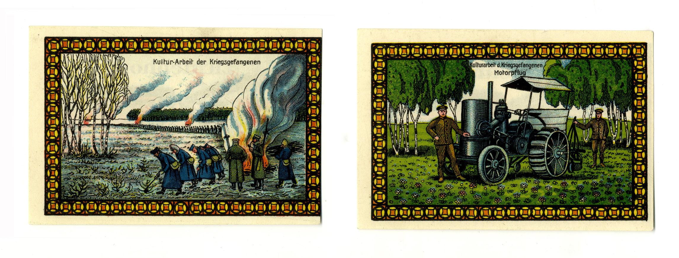 Оборотные стороны двух экземпляров нотгельдов лагеря Лихтенхорст номиналом в 50 пфеннингов