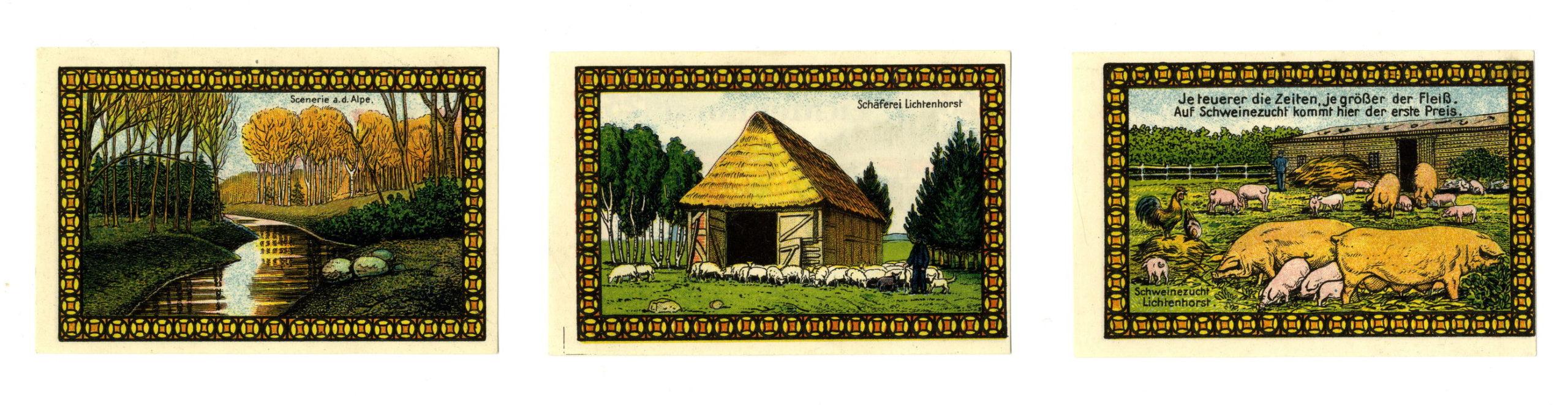 Оборотные стороны трех экземпляров нотгельдов лагеря Лихтенхорст номиналом в 25 пфеннингов