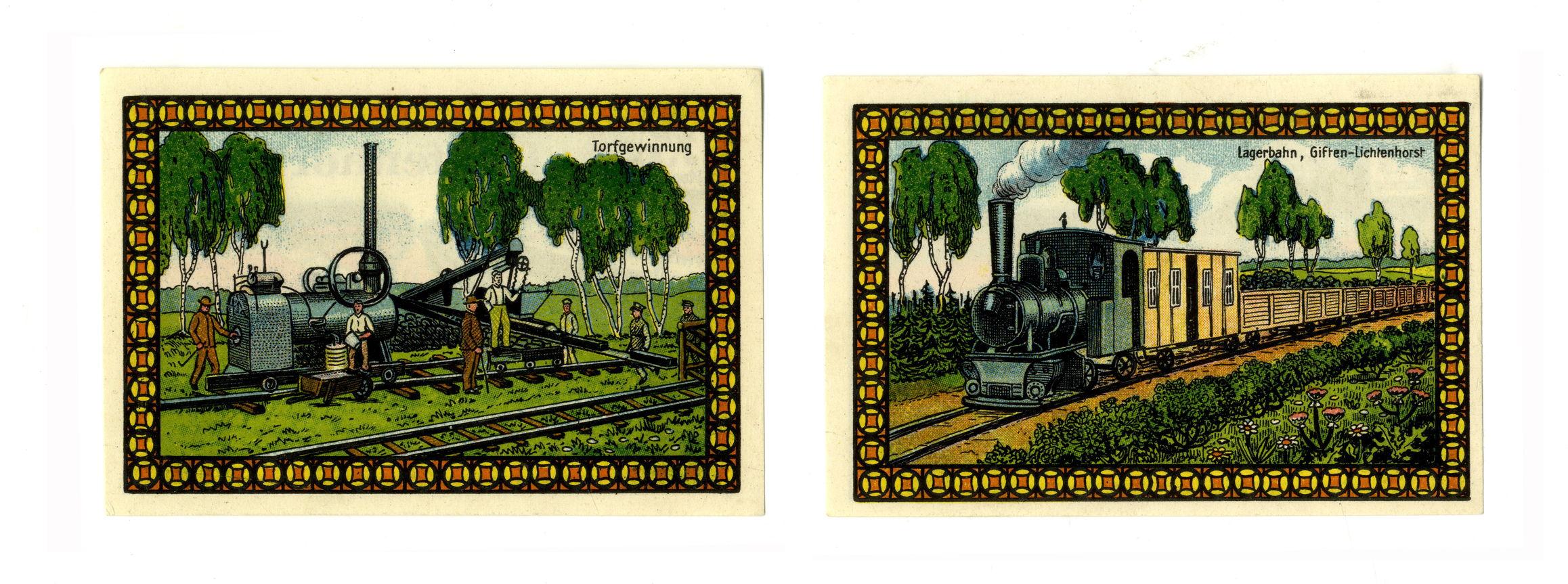 Оборотные стороны двух экземпляров нотгельдов лагеря Лихтенхорст номиналом в 75 пфеннингов