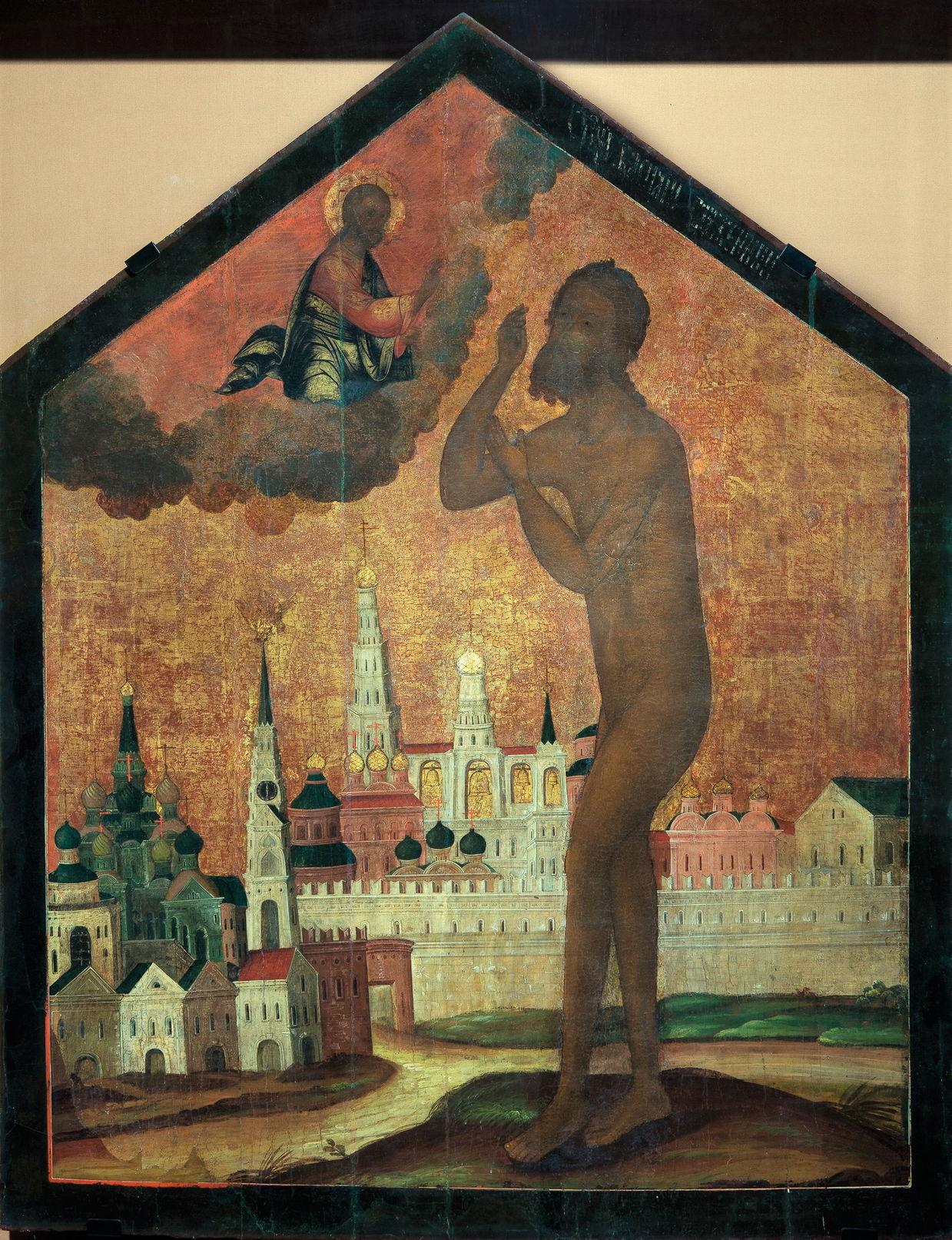 Икона «Святой Василий Блаженный на фоне Покровского собора». XVIII в.