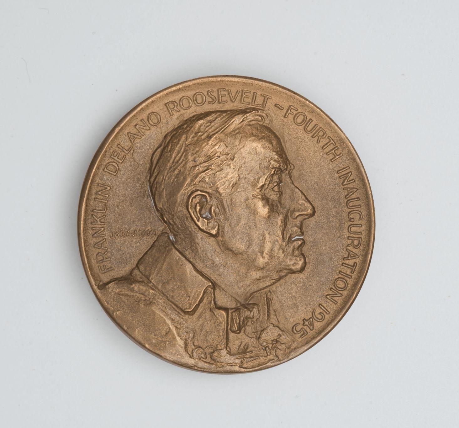 Памятная медаль, посвященная 4-й инаугурации президента Франклина Рузвельта. США. 1945 г. Бронза