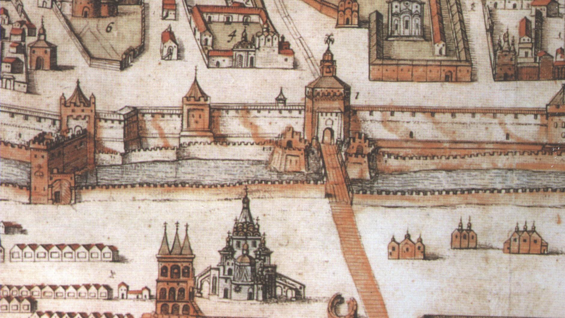 Красная площадь с собором и башнями Кремля на плане Москвы