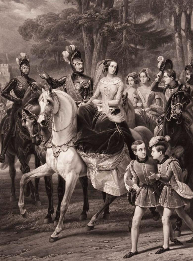 Царскосельская карусель. Групповой портрет семьи императора Николая I во время костюмированного празднества в Царском Селе 23 мая 1842 года. Жазе Ж.П.М. После 1843 г.