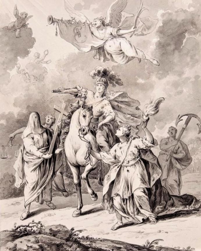Г.И. Козлов. Апофеоз Екатерины II. 1762. Бумага, черная акварель, тушь, перо.