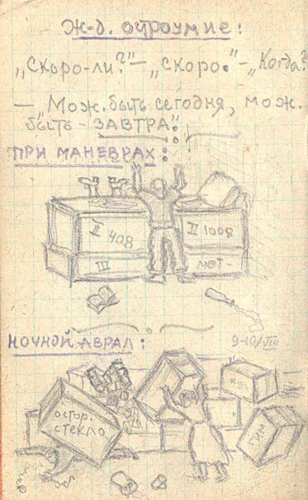 Распаковка грузов. Рисунок из записной книжки Н.Р. Левинсона. 1942 г.