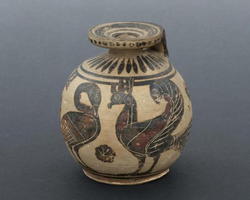 Расписной арибалл с изображением двух птиц и гуся между ними. Около 570 г. до н.э.
