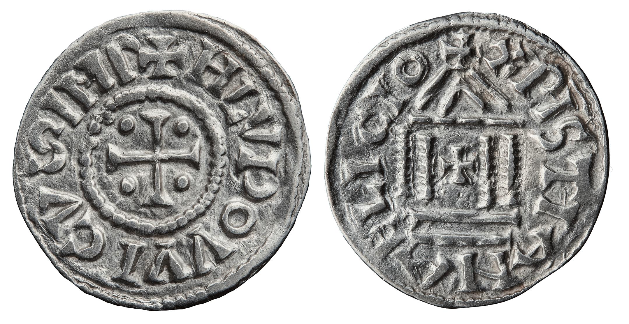 Королевство Франков. Людовик I Благочестивый (814–840). Денарий. Изображение храма на оборотной стороне этих монет могло послужить прототипом для более поздних денариев.