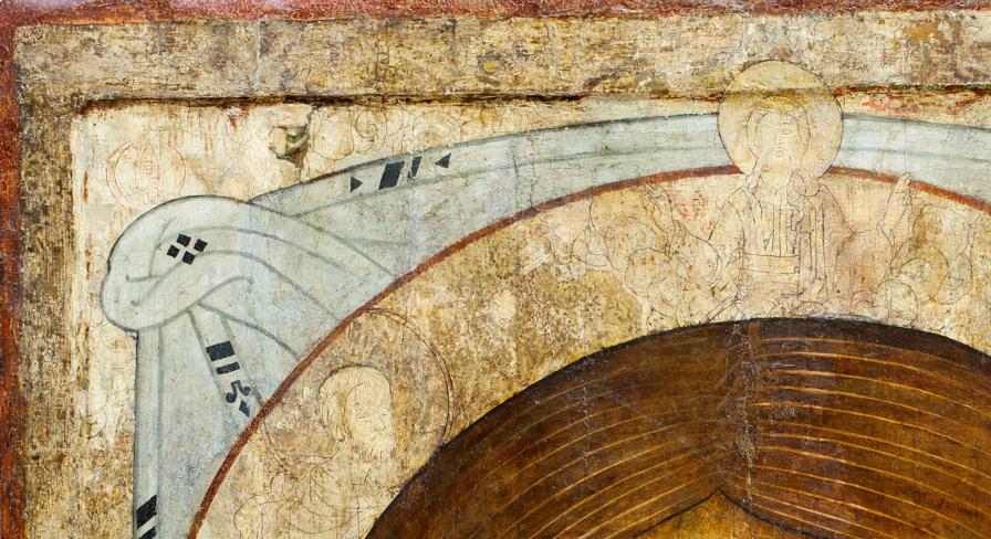 Графья, выявленная в процессе реставрации иконы «Спас Нерукотворный». XVII – XIX вв. Спас Нерукотворный был написан на древней доске. Под изображением сохранились прочерченные по левкасу контуры – графья иконы XVII в.: в верхней части иконы благословляющий Бог-Отец в облачной полусфере; ниже – предстоящие ему святые, вероятно, воины. Рисунок нанесён знаменщиком.