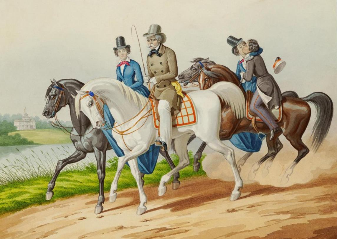 Гампельн К. К. Конная прогулка. Рисунок из альбома. Около 1850 г.