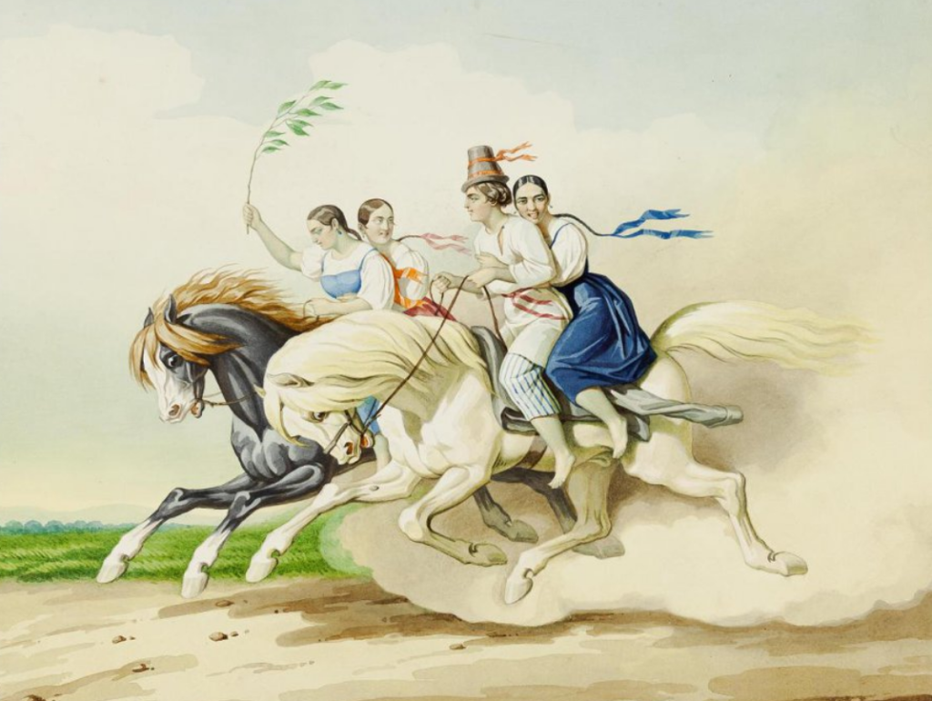 Гампельн К. К. Скачки наперегонки. Рисунок из альбома. Около 1850 г.