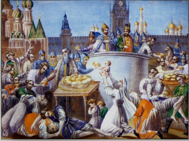 Голод при Борисе Годунове. Неизвестный. художник Россия, вторая половина XVIIIв. Холст, масло