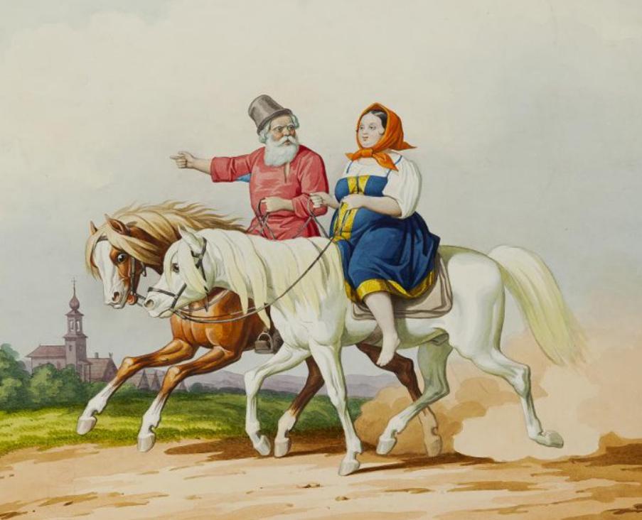 Гампельн К. К. Крестьяне верхом на лошадях. Рисунок из альбома. Около 1850 г.