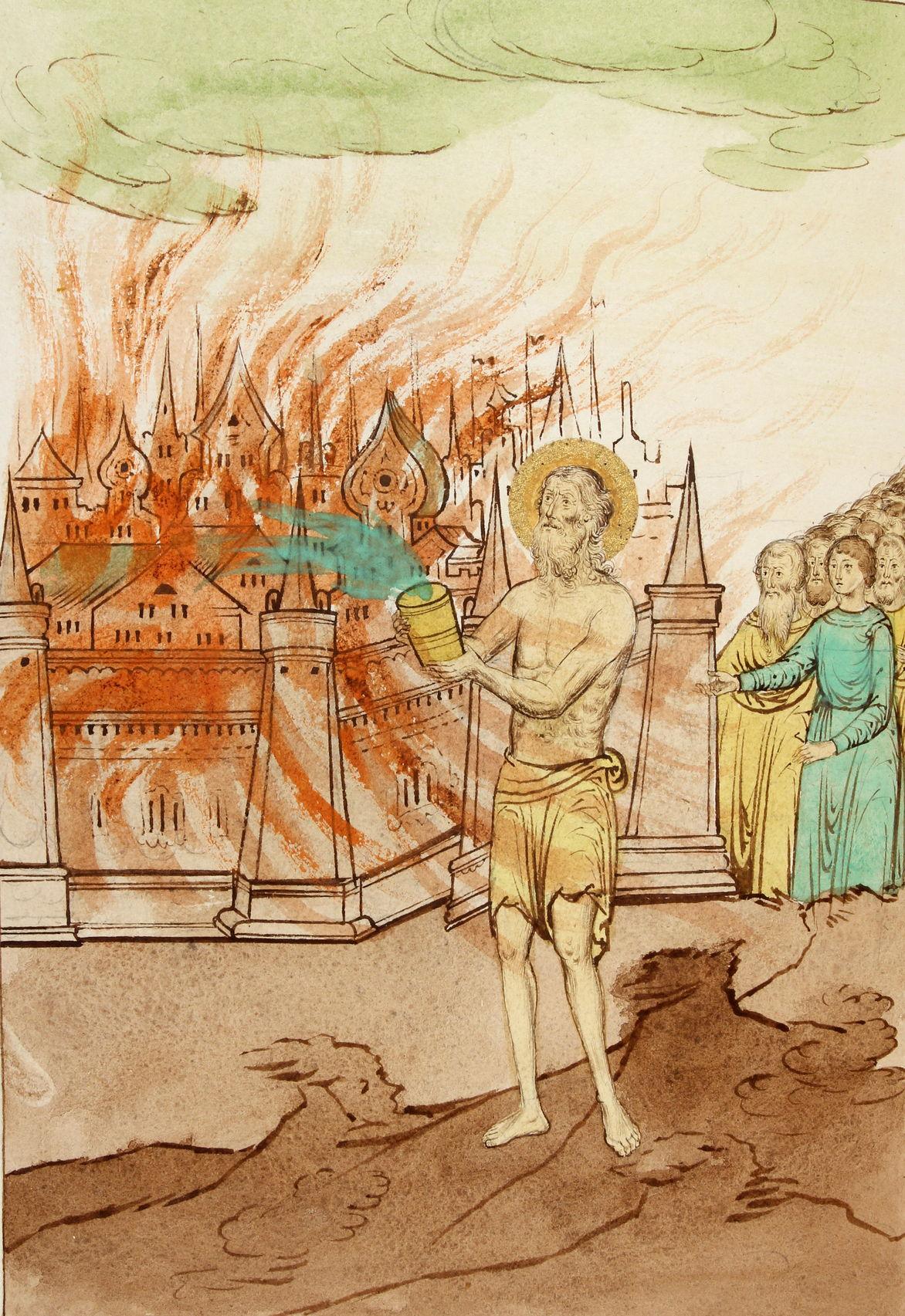 Василий Блаженный заливает из кувшина пожар в Новгороде. Миниатюра лицевого Жития