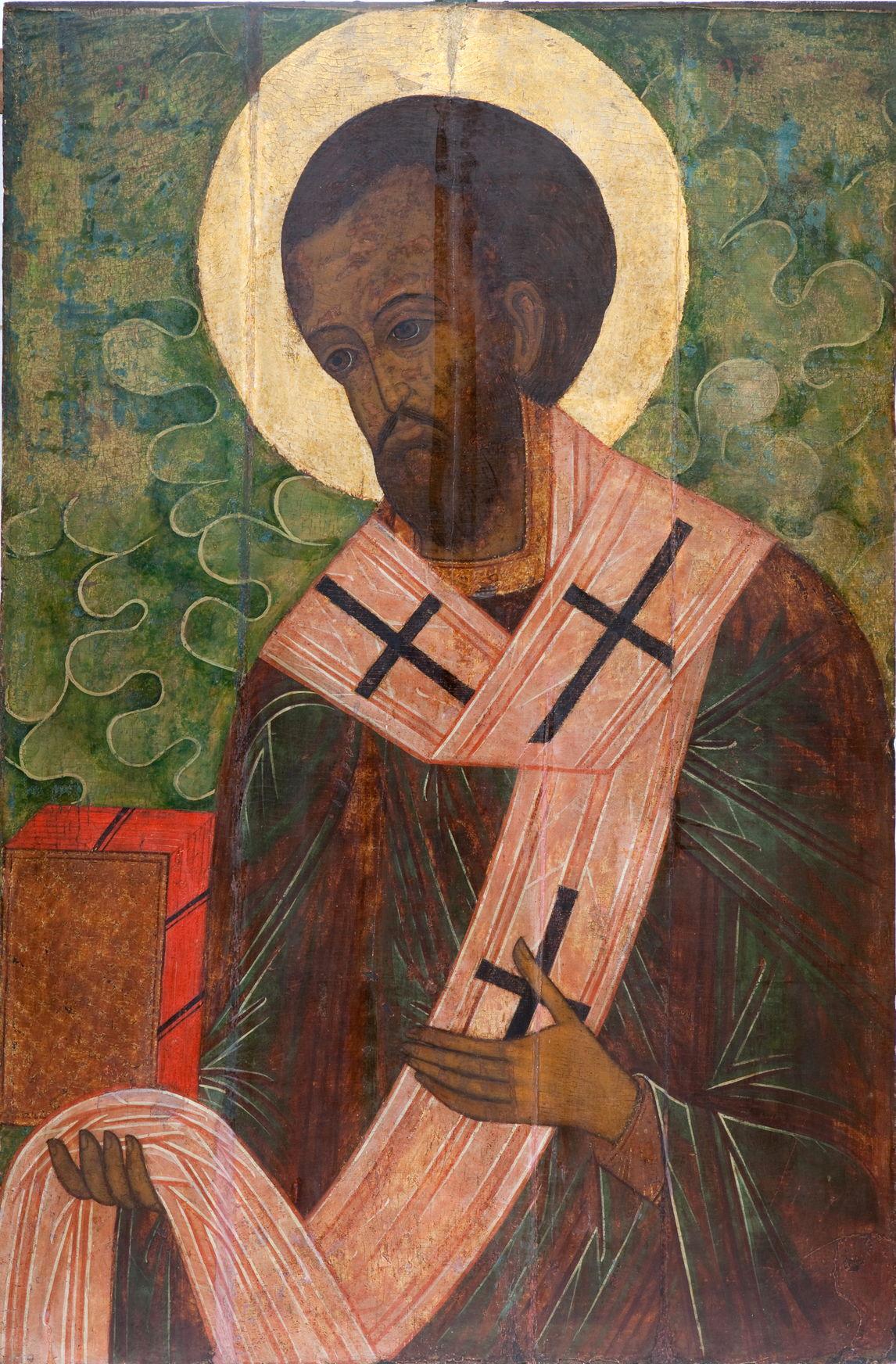 Икона «Иоанн Златоуст». XVI в. Выполнена в темперной технике