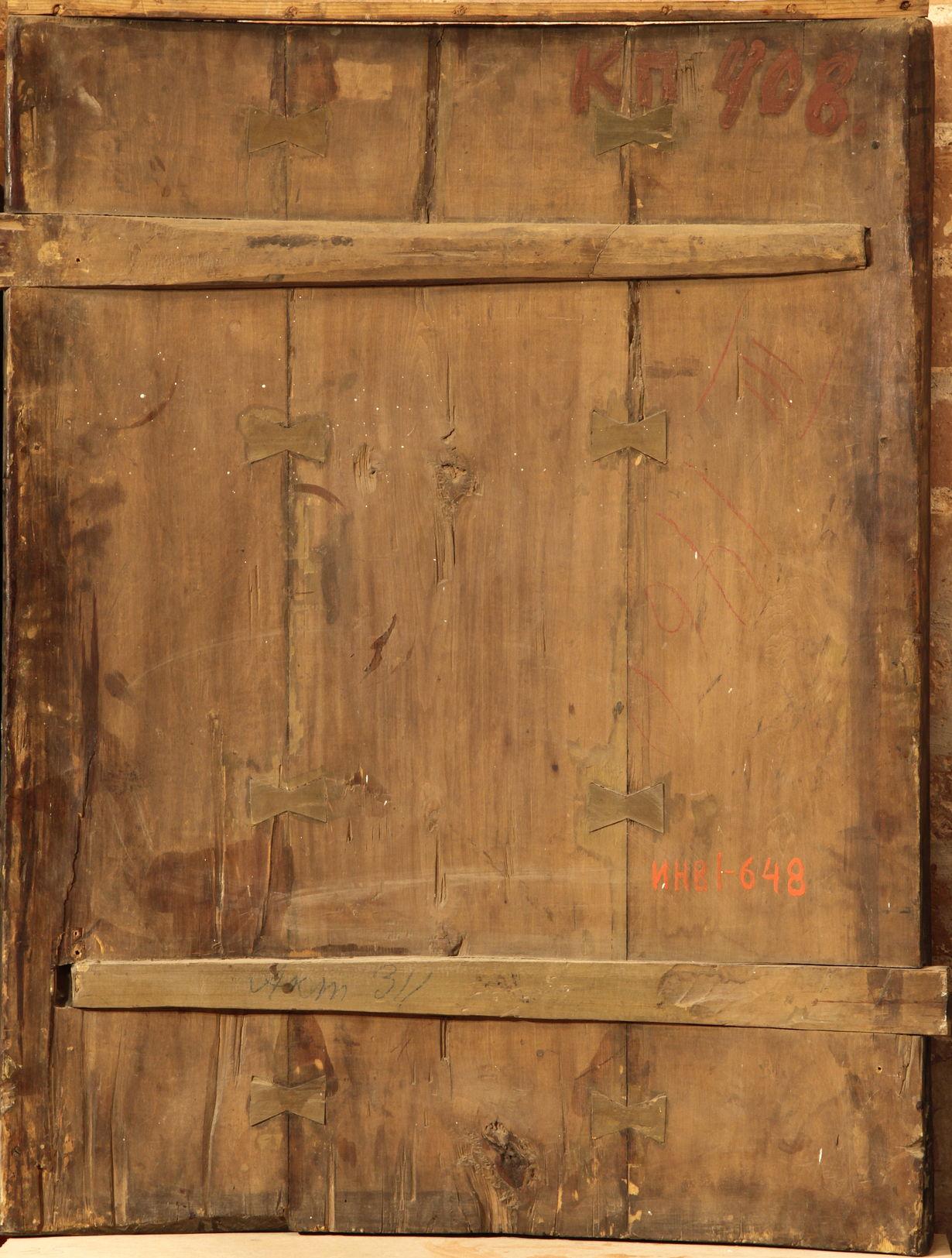 Икона «Жены-мироносицы у Гроба Господня». XVII в. Иконная доска с полями и ковчегом