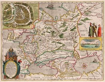 Карта России. Гессель Герритс. Нидерланды, 1613 г. Гравюра, акварель