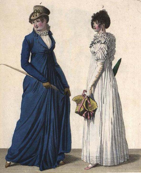 """Дама в синей амазонке (слева) на гравюре из журнала """"Leipziger Mode-Magazin"""". 1803 г."""