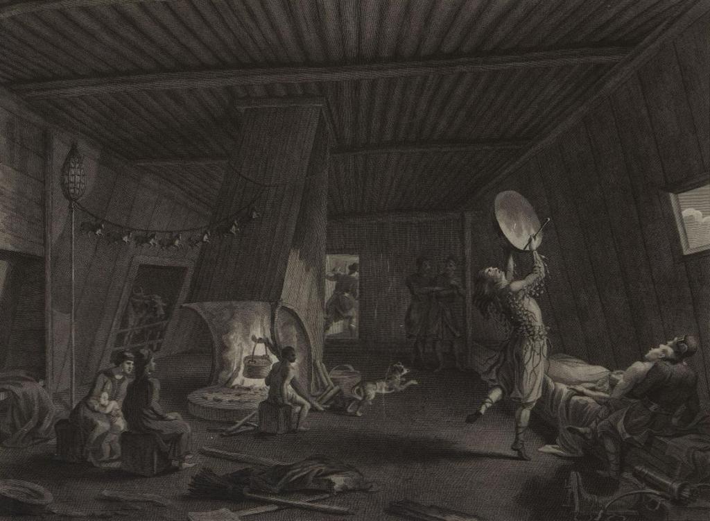 Якутский шаман призывает духов для излечения больного. Сандерс. 1803 г.