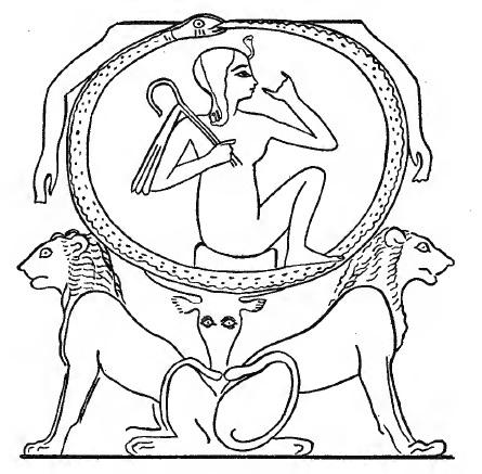 Сцена из папируса с изображением Солнечного божества Ра, располагающегося на двух львах: Шу и Тефнут. Каирский музей (P. Cairo 133). Из. Piankoff A. Egyptian Religious Text and Representations: Mythological Papyri. Texts. Vol. 3. Ed. by Rambova N. N.Y., 1957. P. 22. Fig. 3.