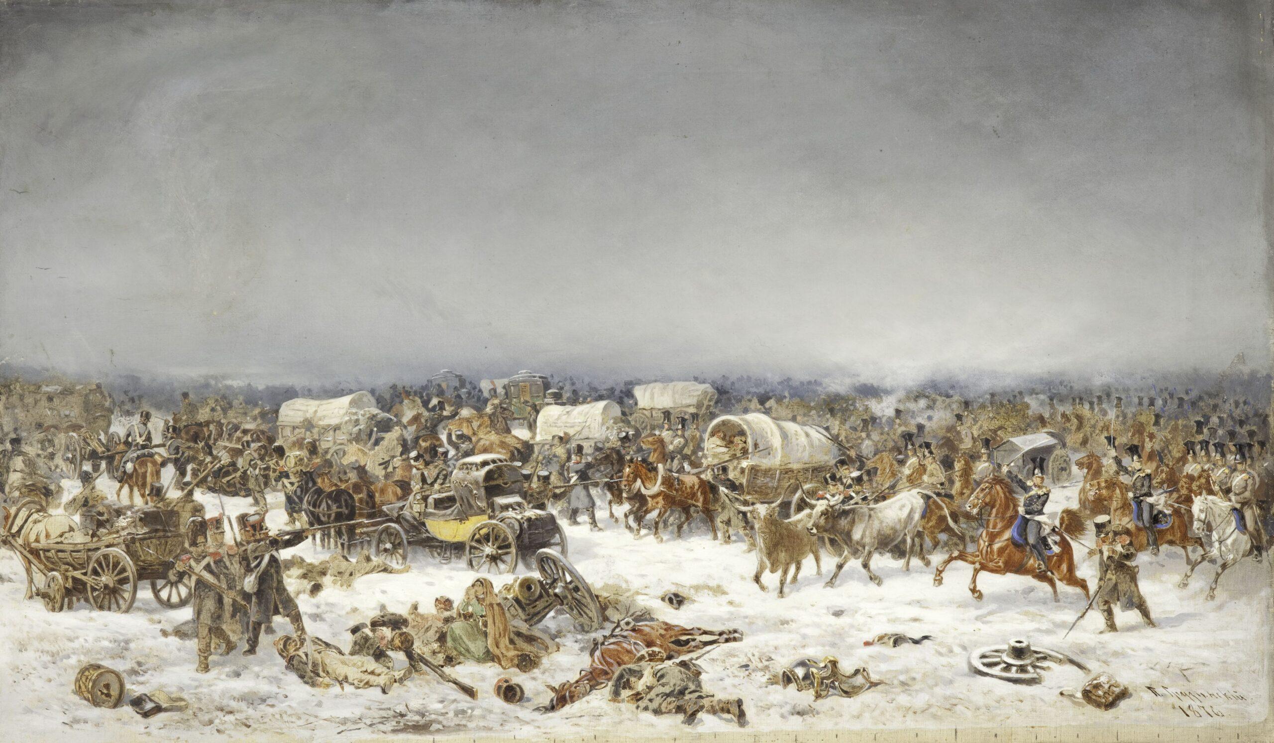 Грузинский П.Н. Взятие обоза маршала Даву лейб-гвардии уланским полком под Красным 5 ноября 1812 года. Эскиз с масштабной сеткой к картине 1889 года. 1876 г. Холст, масло