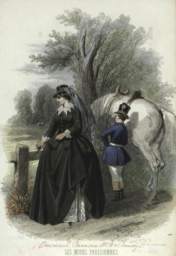 Модный дамский костюм и модный костюм для мальчика. Лист из журнала « Les Modes Parisiennes ». 1854 г.