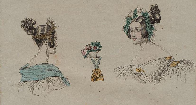 Модная причёска (вид сбоку и спереди) и букет. Лист из журнала «Московский наблюдатель». 1834 г. (?)