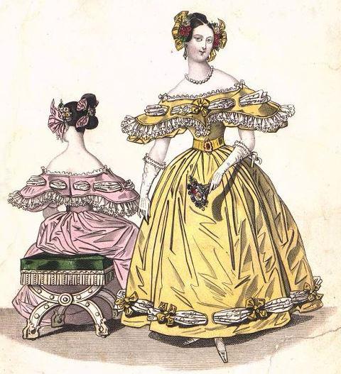 Два модных дамских костюма (вид спереди и вид со спины, сидя). Лист из журнала « Le Petit Courrier des Dames » (№ III 5). 1836 г.