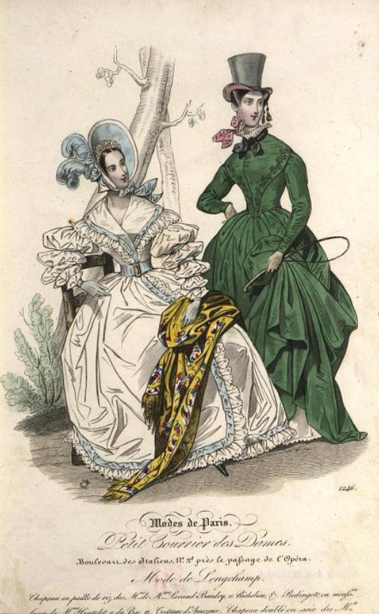 Дама в зеленой амазонке (справа). Лист из журнала « Le Petit Courrier des Dames ». 1837 г.