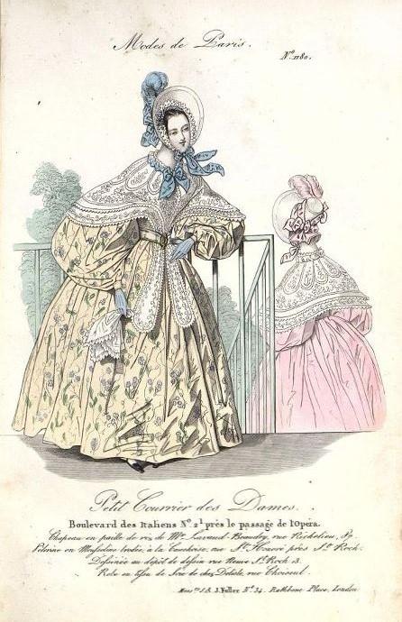 Модный дамский костюм с голубыми перчатками в тон к отделке. Лист из журнала « Le Petit Courrier des Dames ». 1836 г.